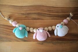 Wagenspanner vogeltjes - mintgroen, lichtroze, wit