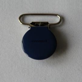 Metalen speenclip rond donkerblauw