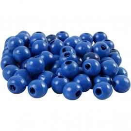 Blauwe houten kraal 12 mm