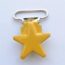 Metalen speenclip ster geel