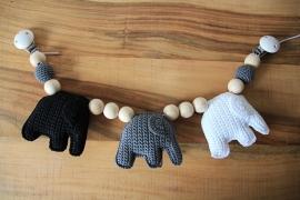 Wagenspanner olifantjes- zwart, grijs, wit