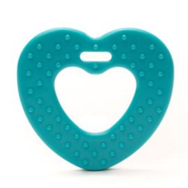 Hart met noppen kunststof bijtringen - Turquoise