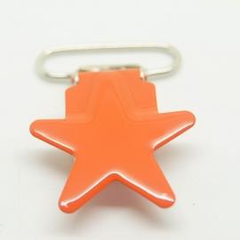 Metalen speenclip ster oranje