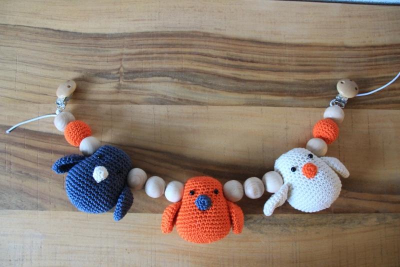 Wagenspanner vogeltjes - donkergrijs, oranje, ecru