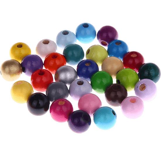 Houten kralen kleur 12 mm
