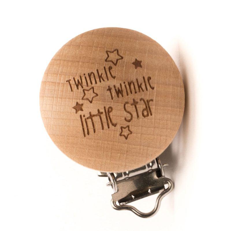 """Durable houtkleurige speenclip """"Twinkle twinkle little star"""""""