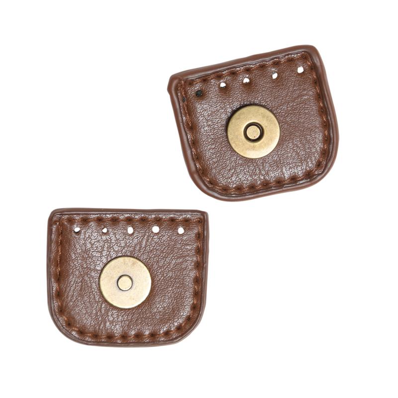 Magneetknoop met flap. Bruin met bronze magneet 4 cm