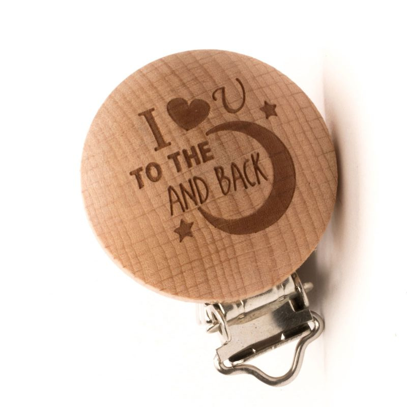 """Durable houtkleurige speenclip """"I love you to the moon and back"""""""