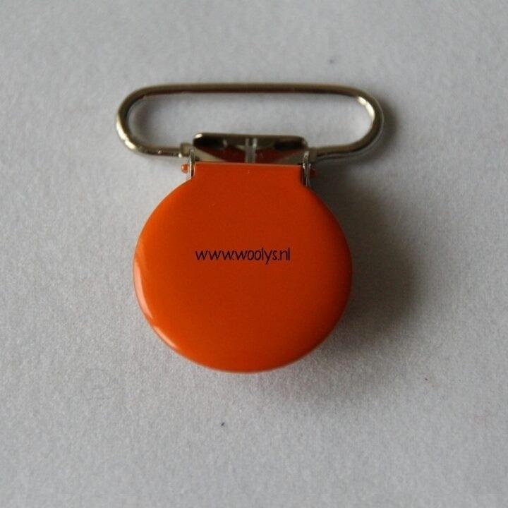 Metalen speenclip rond oranje