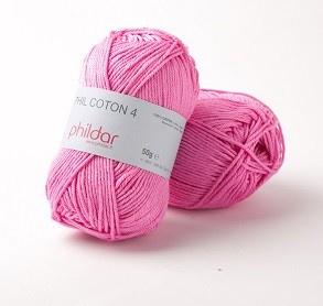 Pakket: 4 bollen Phildar Coton 4 - Petunia 68