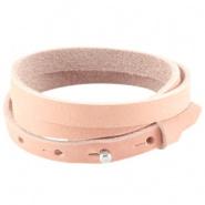 armband leer triple coral pink 8mm