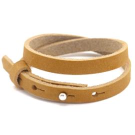 Cuoio armbanden leer 8mm dubbel voor 12 mm cabochon camel brown
