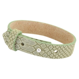 Cuoio armband leer 15 mm voor 20 mm slider  light army green