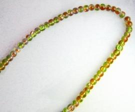 Glaskralen groen/bruin rond 3,5mm