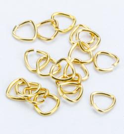 Enkele splitring driehoek, goud,  100 stuks