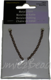 Metalen ketting kleine ronde schakel, antiek koper, 1 meter
