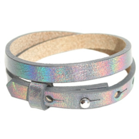 Cuoio armbanden leer 8mm dubbel voor 12 mm cabochon holographic antracite