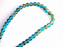 glaskralen blauw/bruin 8,4mm