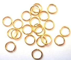 Enkele splitringen goud 6mm, 20 stuks