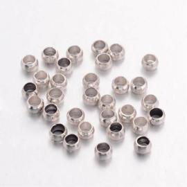 Knijp Kralen Rond  Zilver  2,5mm, 100 stuks