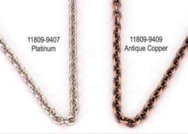 Metalen ketting schakel rond, antiek koper, 1 meter