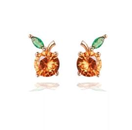 Grapefruit oorbellen met zirkonia