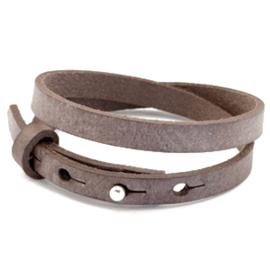 Cuoio armbanden leer 8mm dubbel voor 12 mm cabochon graphite brown