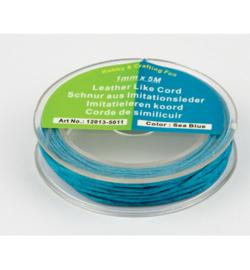 Imitatieleren koord zeeblauw 1mmx5m