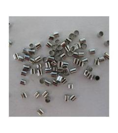 knijpkralen tube zilver 1,5x1,5, 100 stuks