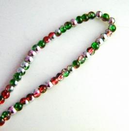 glaskralen zilver/rood/groen 4,5mm