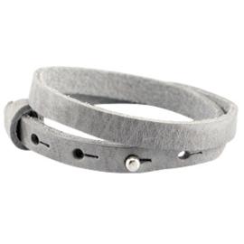 Cuoio armbanden leer 8mm dubbel voor 12 mm cabochon natural grey