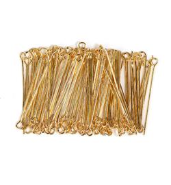 Kettelstiften Met Oog, goud 32 mm, 100 stuks