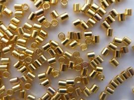Knijpkralen goud tube 2x1,5, 100 stuks