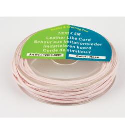Imitatieleren koord licht roze 1mmx5m