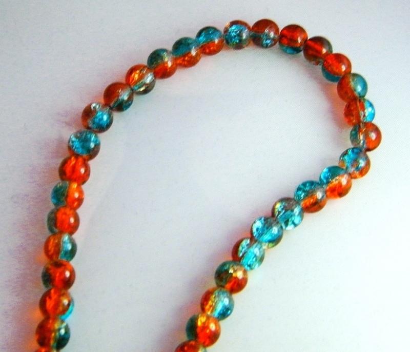 Glaskralen oranje/blauw 8mm