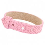 Cuoio armband leer 15 mm voor 20 mm slider reptile candy pink