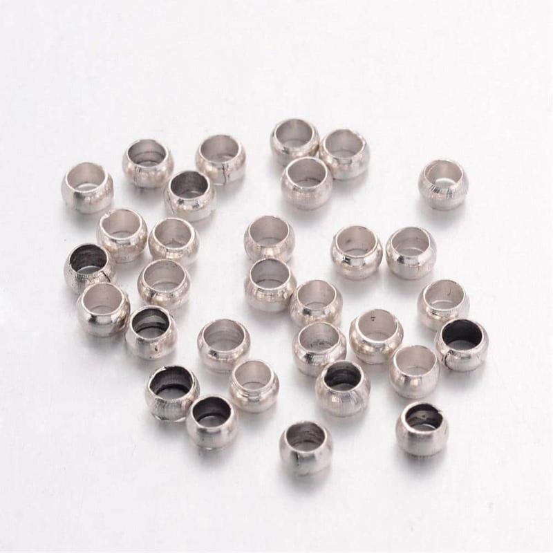 Knijp Kralen Rond Zilver 1,5mm, 100 stuks