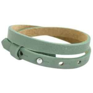 Cuoio armbanden leer 8mm dubbel voor 12 mm cabochon dark sea mist green
