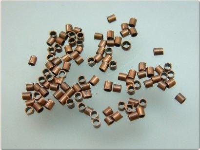 knijpkralen tube antiek koper 1,5x1,5, 100 stuks