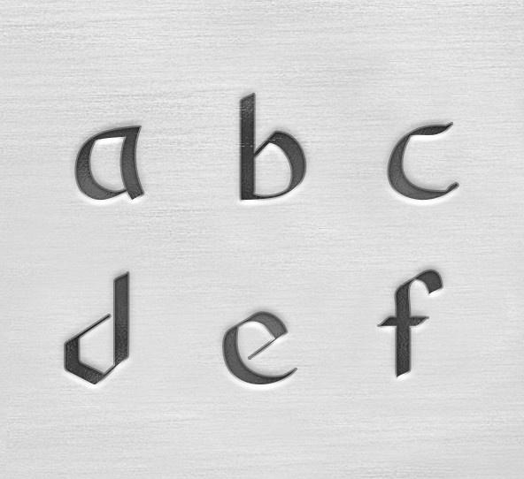 Celtic lowercase 3mm