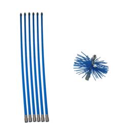 Blauwe veegset 7,20m of meer met nylonborstel 80mm