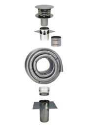 Compleet Flexibel rookkanaal 80 mm met vloerplaat ( 6 tot 10 meter )