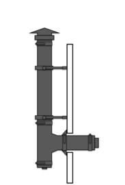 Compleet pakket voor stacaravan of chalet langs de gevel Ø 80mm ZWART