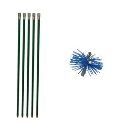 Groene veegset professioneel 5 meter met  nylonborstel 80 mm