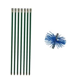 Groene veegset professioneel 7 of meer meter met  nylonborstel 80 mm