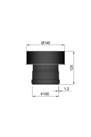 pelletkachelpijp verloop 100 mm - 149 mm