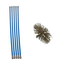 Veegsets (dubbele sluiting: anti-losdraai) met stalen borstel