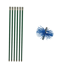 Groene veegset professioneel 6 meter met  nylonborstel 80 mm