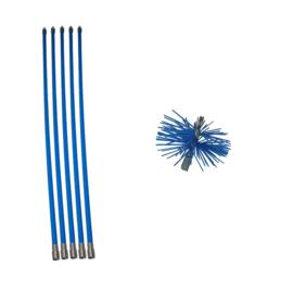 Blauwe veegset 6,00m met nylonborstel 80mm
