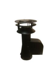 Rookgasventilator met inlaatpijp en kap ZWART Ø 150 mm